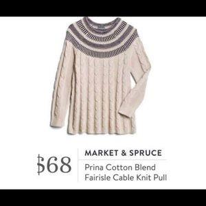 Market & Spruce Fairisle tan cable knit sweater